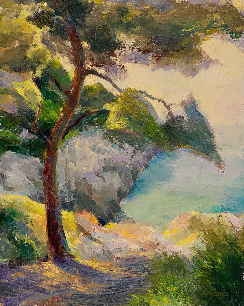 Collymore-Seaside-Pine-Tree-a-la-palette-knife-Cap-Ferrat-ksjl5a