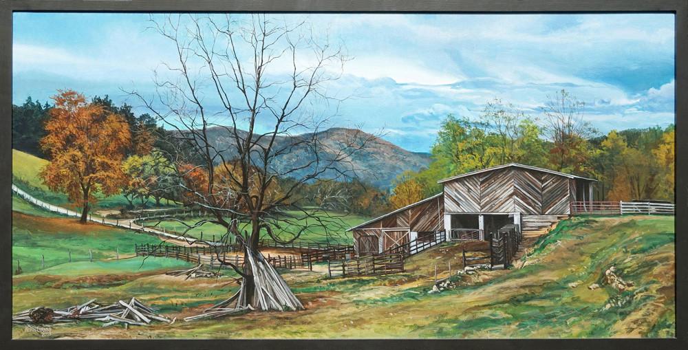 Kevin-Grass-Appalachian-Farm-framed-Acrylic-on-canvas-painting-yg4jkv