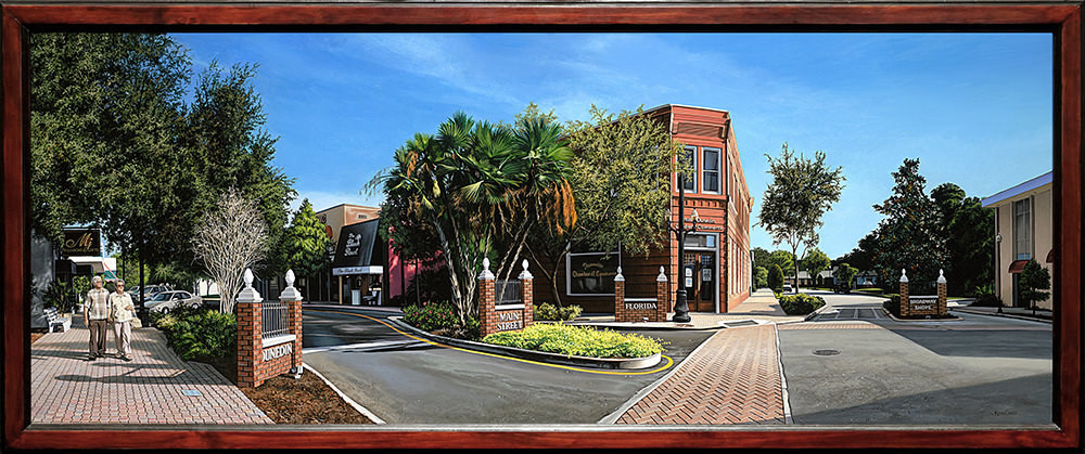 Kevin-Grass-Downtown-Dunedin-framed-Acrylic-on-panel-painting-ndmmo8