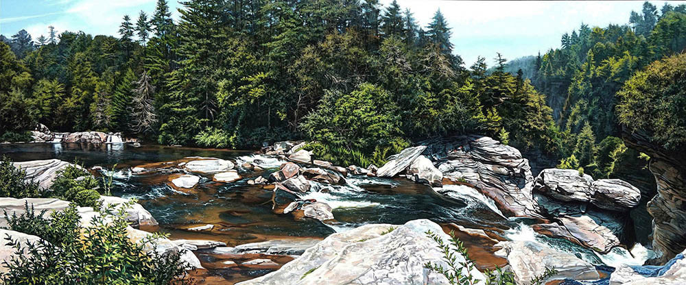 Kevin-Grass-Upper-Linville-Falls-Acrylic-on-panel-painting-ya8yrg