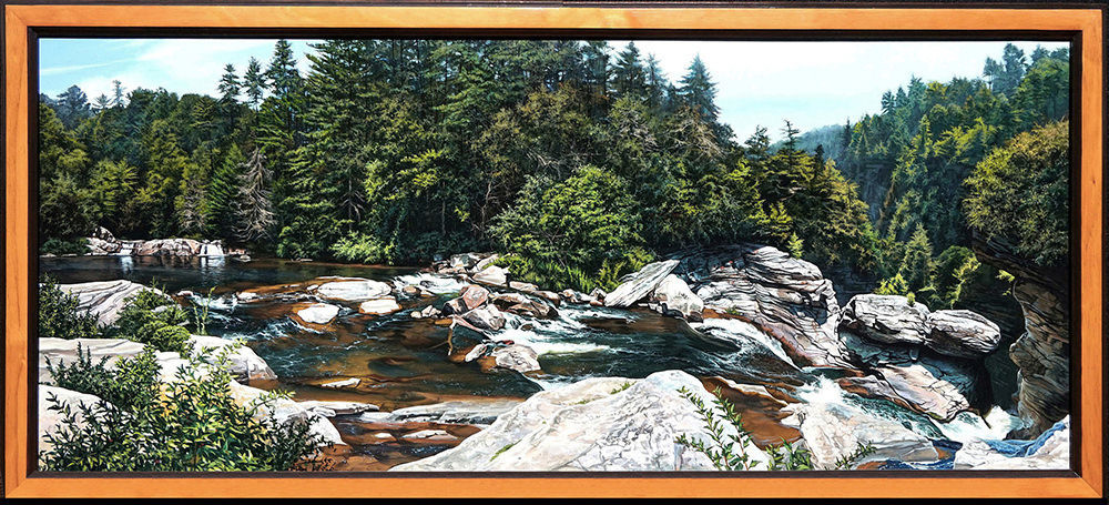Kevin-Grass-Upper-Linville-Falls-framed-Acrylic-on-panel-painting-qovbpd