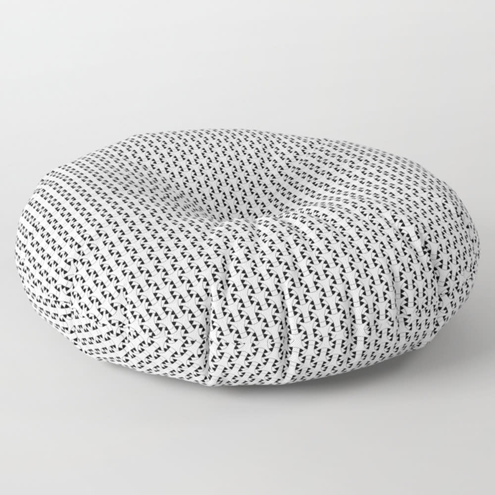 Black & White Basket Weave Circles Shapes 2 Square and Round Floor ...