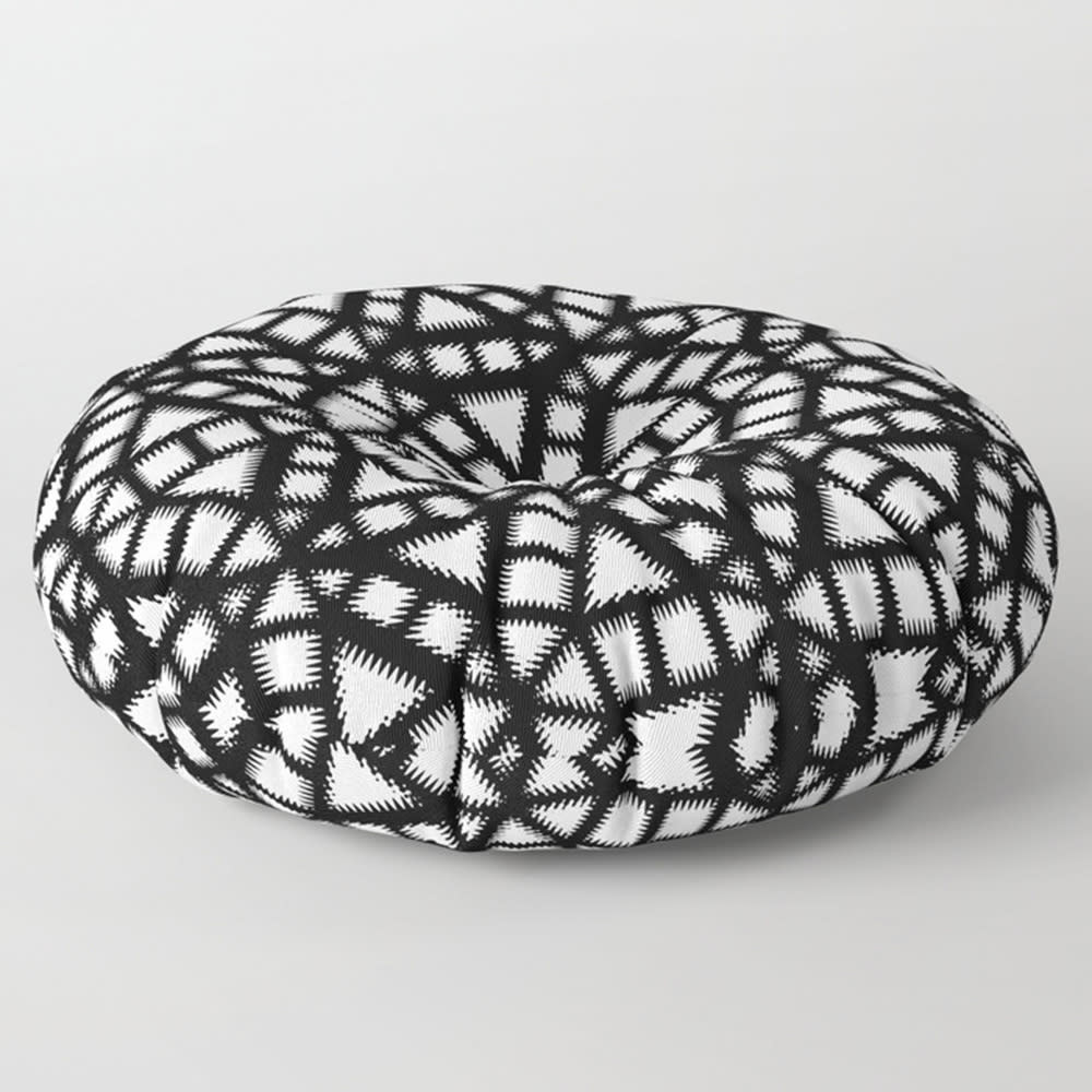 Black and White Pinwheel Pattern Square and Round Floor Pillow