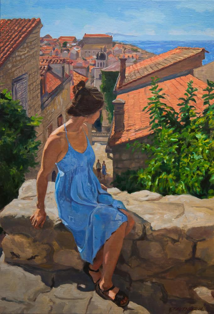 Kutscher-Blue-Dress--Dubrovnik--Oil-on-linen-on-board--32-x-22-inches