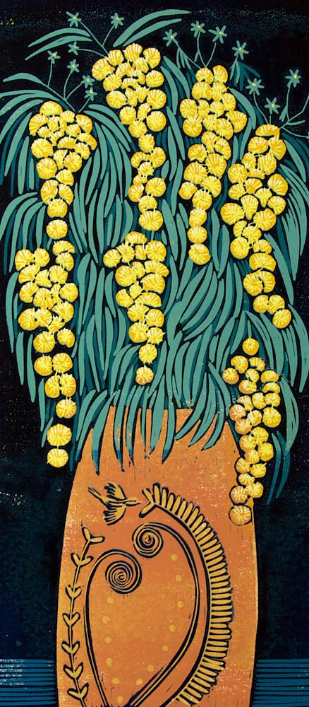 Mimosa orange vase image