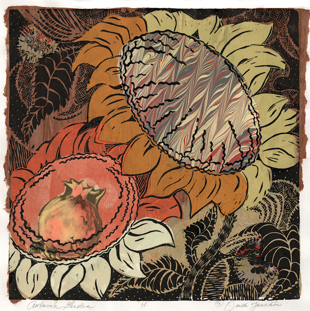 New Work, Autumn Garden woodcut print with a warm palette of colors ...