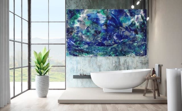 Scene of the Deep I and II staged marble bath Lesley Koenig
