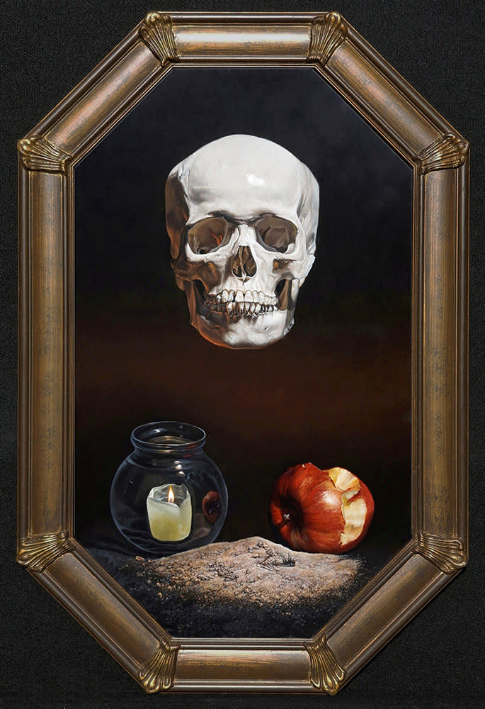 Kevin Grass Memento Mori framed Acrylic on panel painting