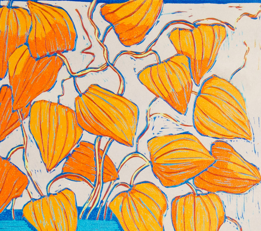 chinese lanterns oil flowers