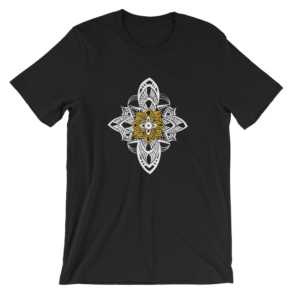 Mandala gold white Yoshi Logo gold printfile front Mandala gold white Manda mockup Front Wrinkled Black