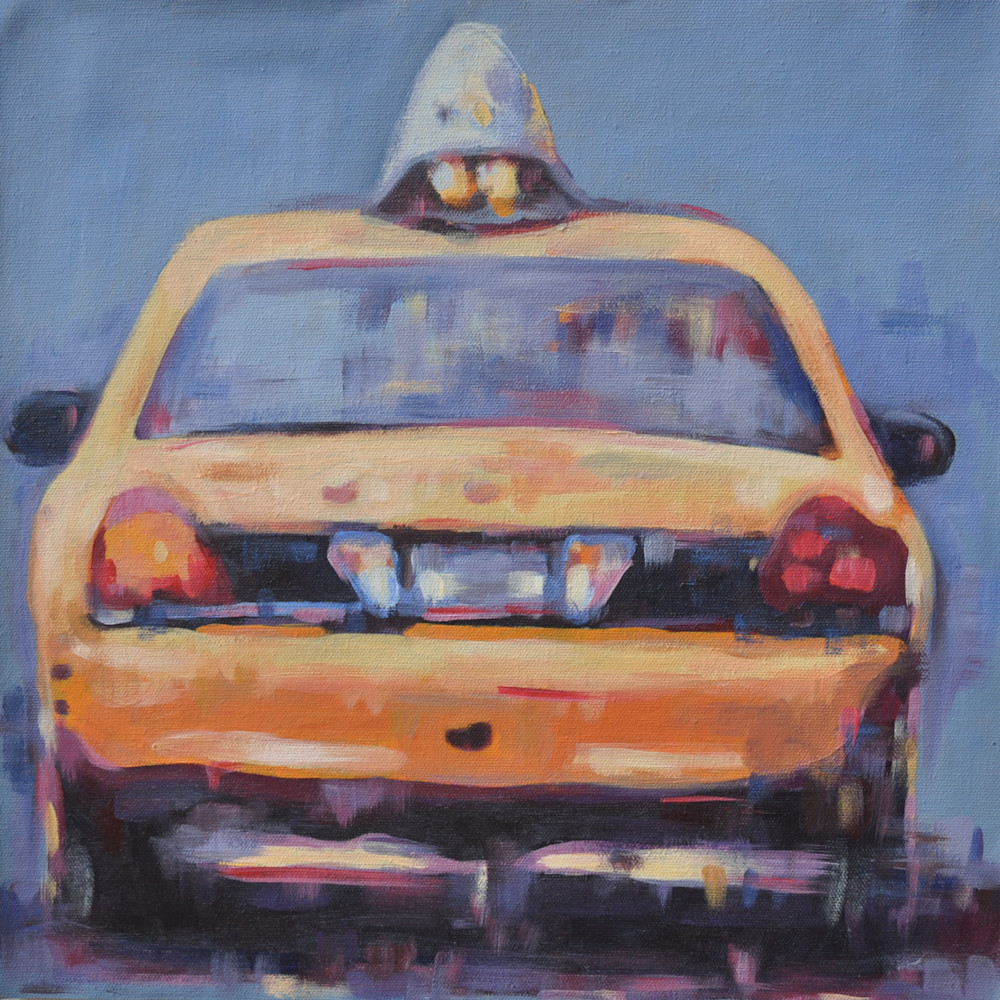 36x36 Yellow Taxi cab from behind by Steph Fonteyn