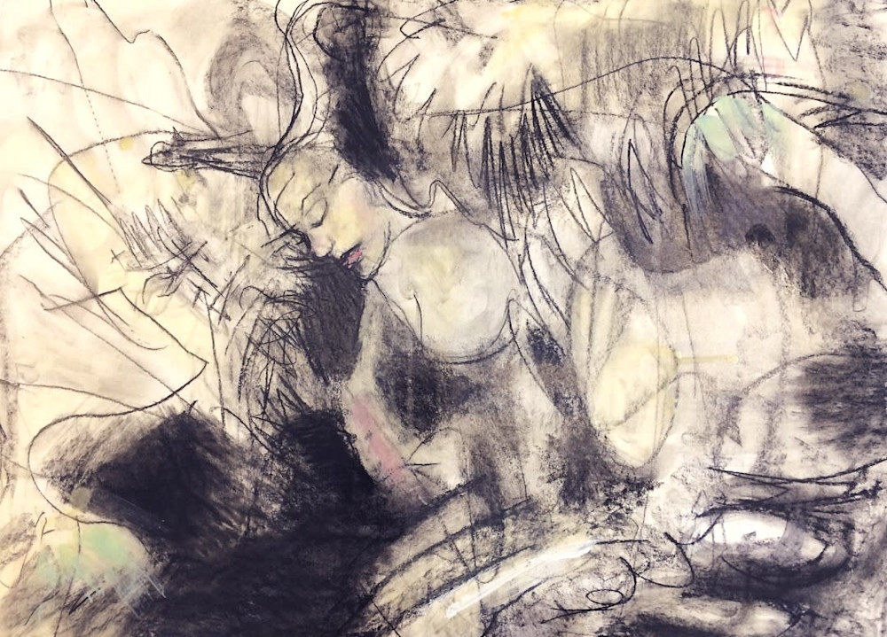 Between Two Worlds 2, charcoal and encaustic wax on paper, 18