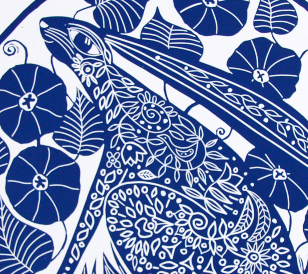 Hare and morning glory detail