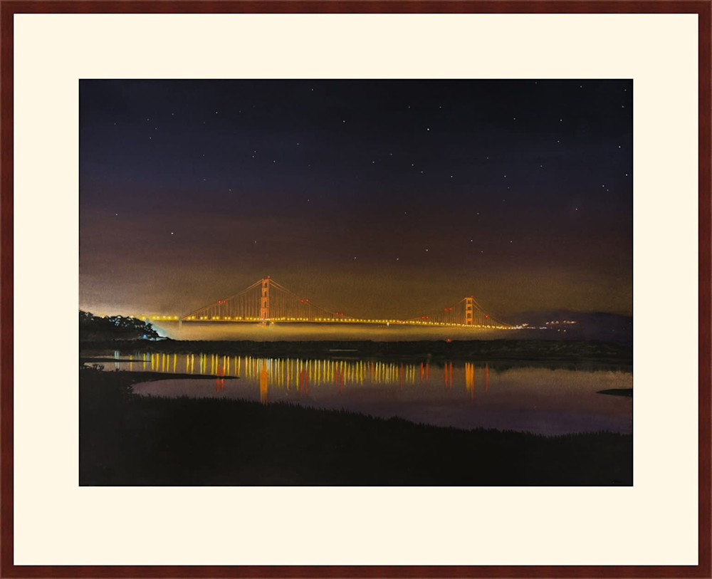 golden gate bridge at night framed