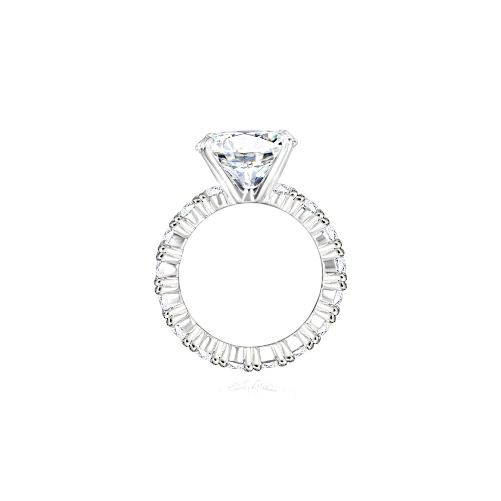 Silver 4 Carat Round Solitaire Ring on Eternity Band Z30210 c 210000000436