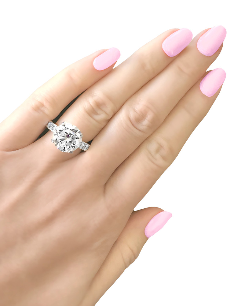Silver 4 Carat Round Solitaire Ring on Eternity Band Z30210 D 210000000436