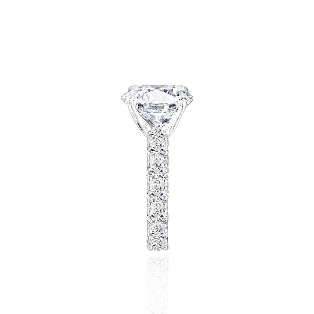 Silver 4 Carat Round Solitaire Ring on Eternity Band Z30210 b 210000000436