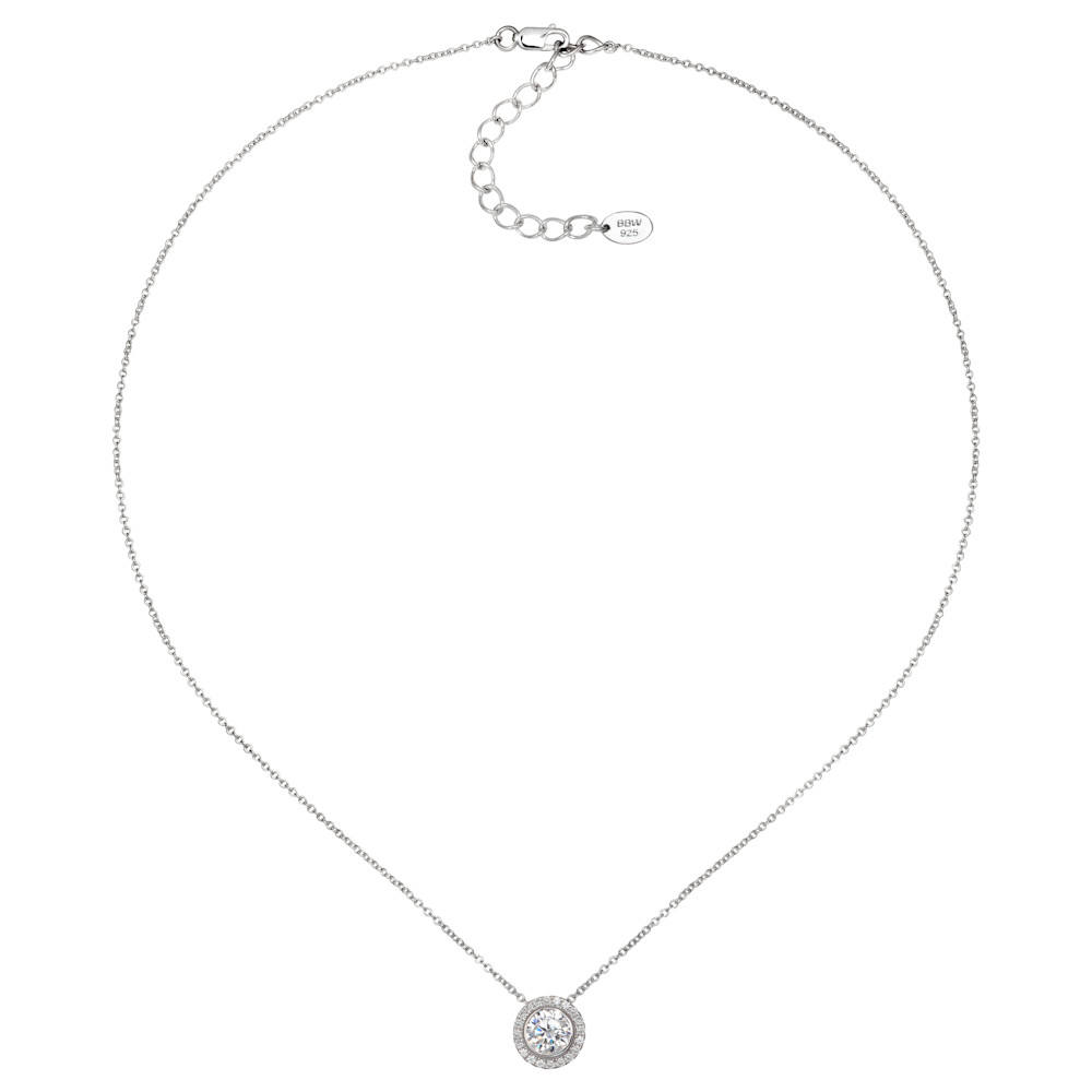 Sterling Silver 2 Carat Round Pendant Necklace with Halo  Z30219 c 210000000472