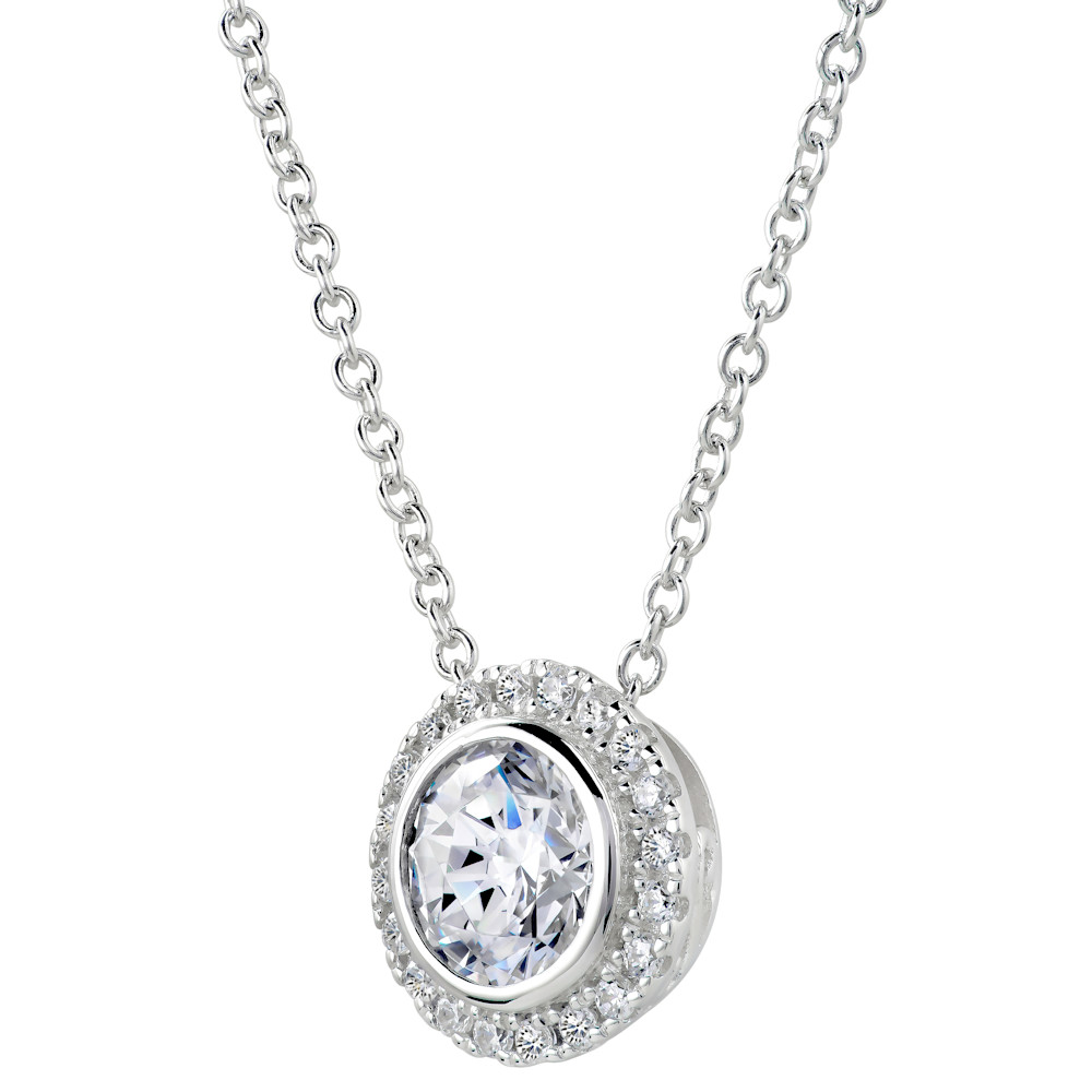 Sterling Silver 2 Carat Round Pendant Necklace with Halo  Z30219 b 210000000472
