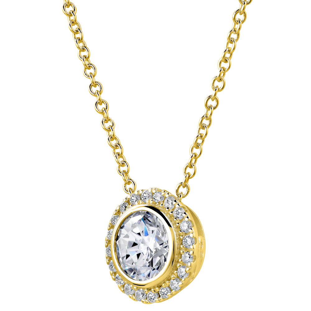 18 KGP 2 Carat Round Pendant Necklace with Halo  Z30221 b 210000000473