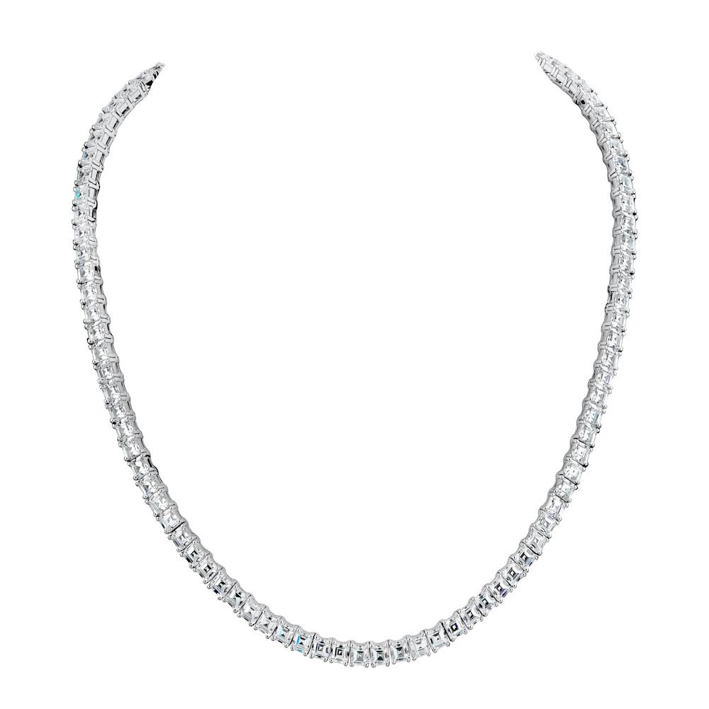 Silver Asscher tennis necklaceZ30225 a