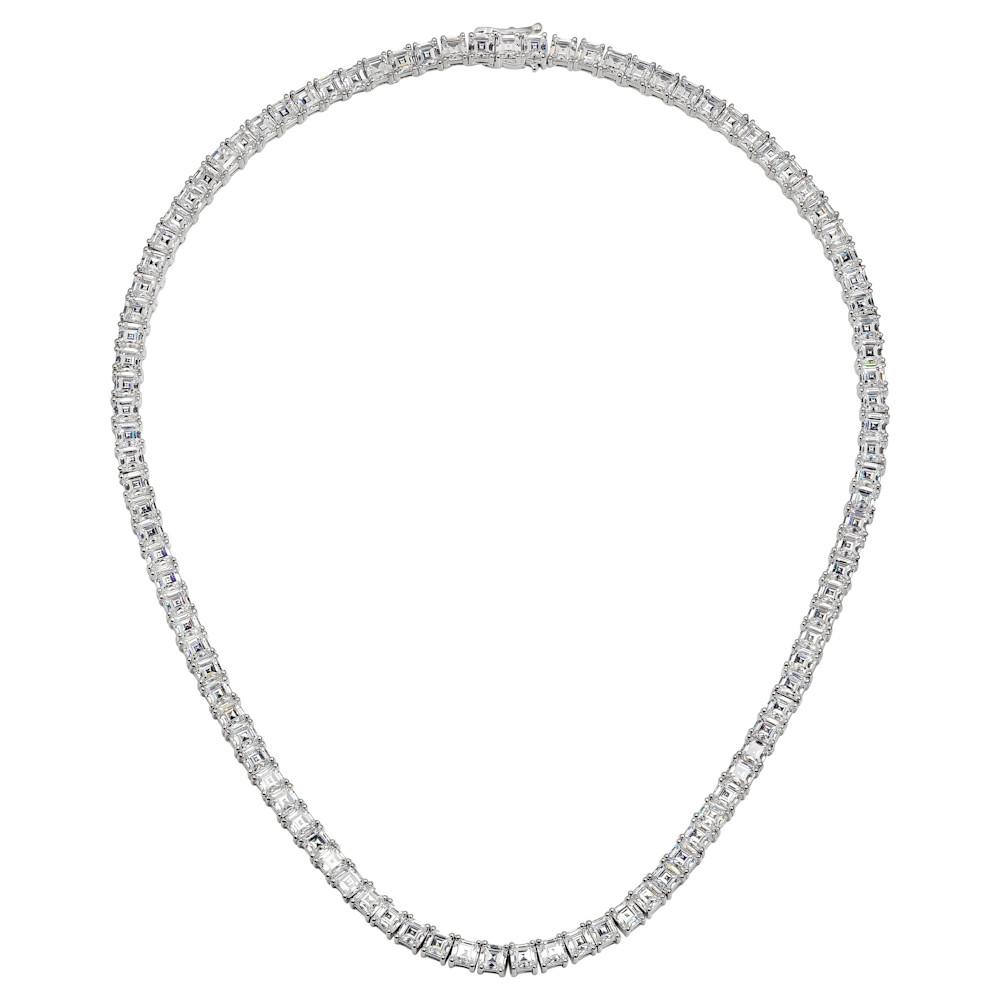 Silver Asscher tennis necklaceZ30225 b