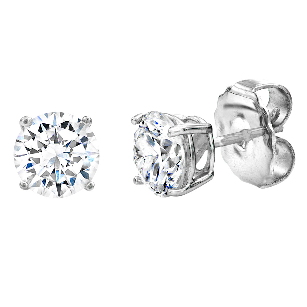Sterling Silver 4 Prong 1 Carat Solitaire Studs V20039 a 210000000321