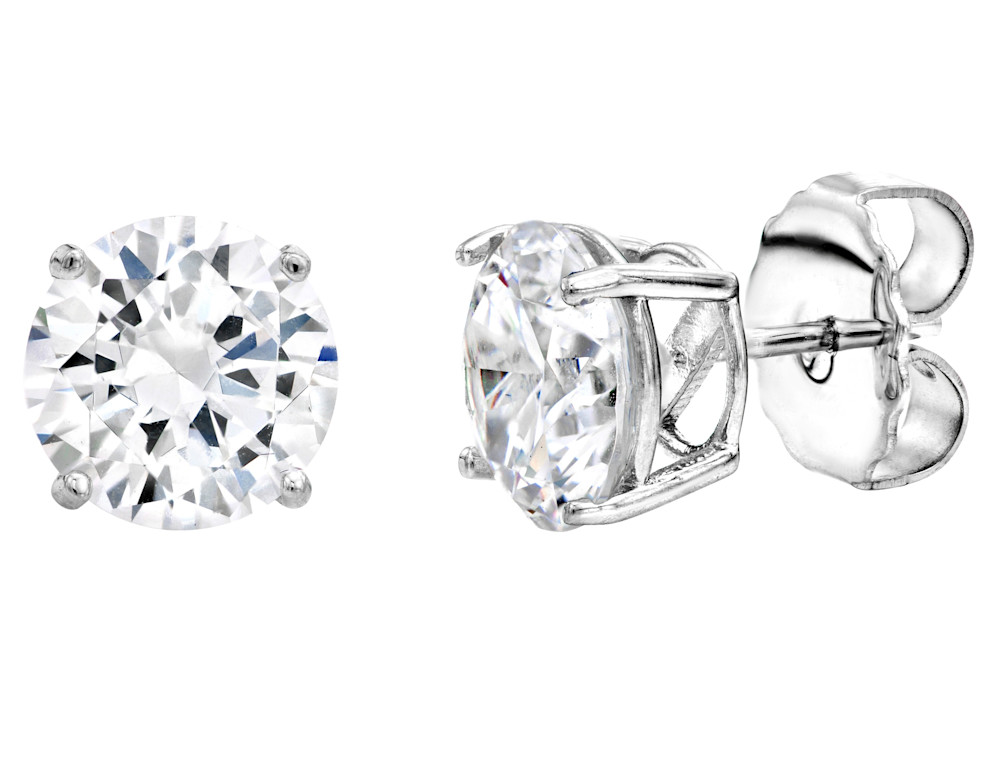 Sterling Silver 4 Prong 3 Carat Huge Solitaire Studs G100002 CLR a 210000000324