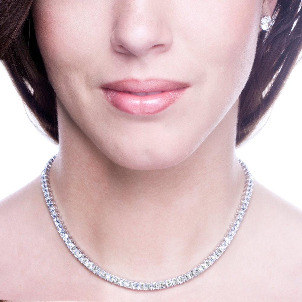 Silver Asscher tennis necklaceZ30225 d