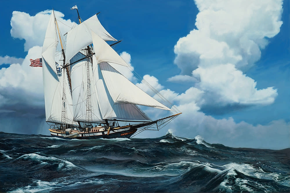 Kevin Grass Schooner Racing the Storm Oil on panel painting