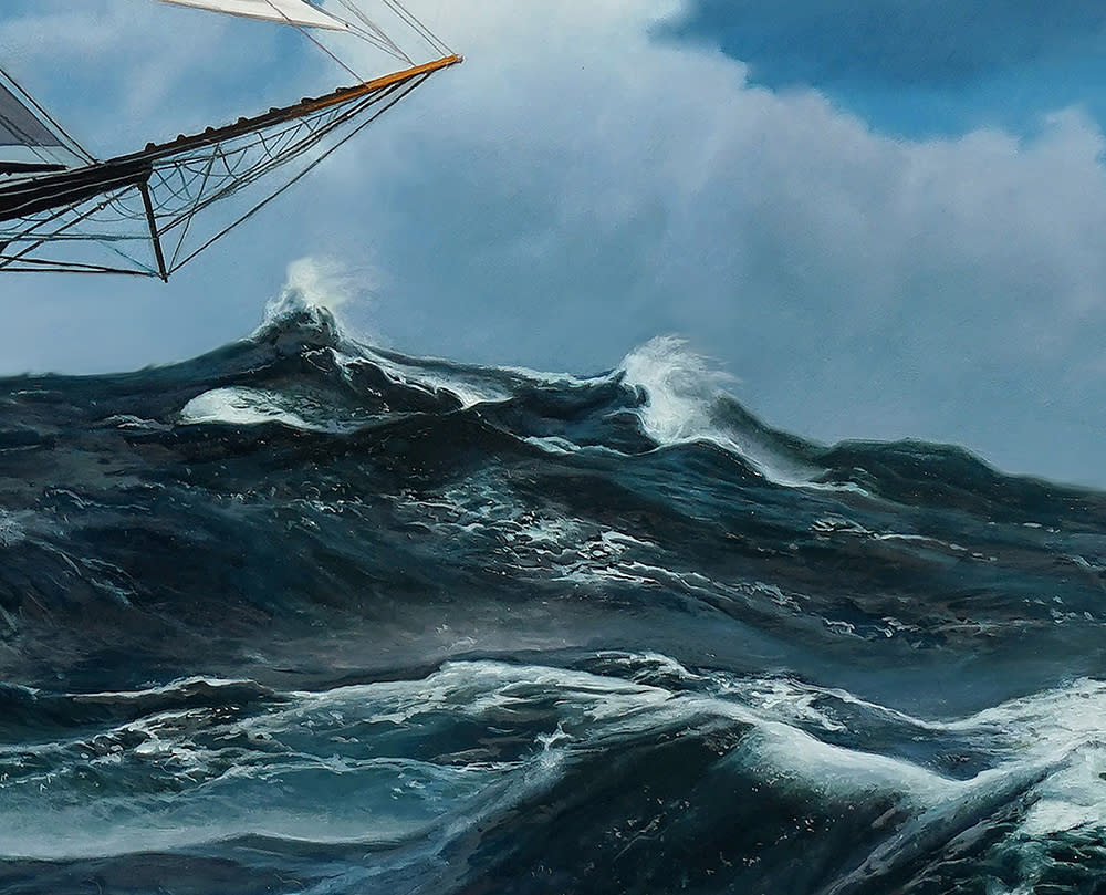 Kevin Grass Schooner Racing the Storm Detail 1 Oil on panel painting