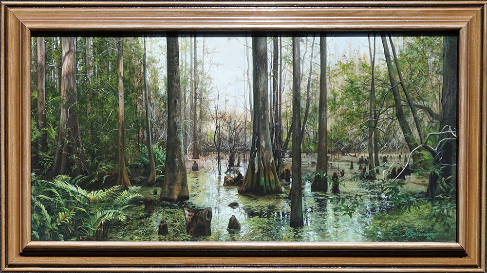 Kevin Grass Nicholas's Swamp framed Acrylic on canvas painting