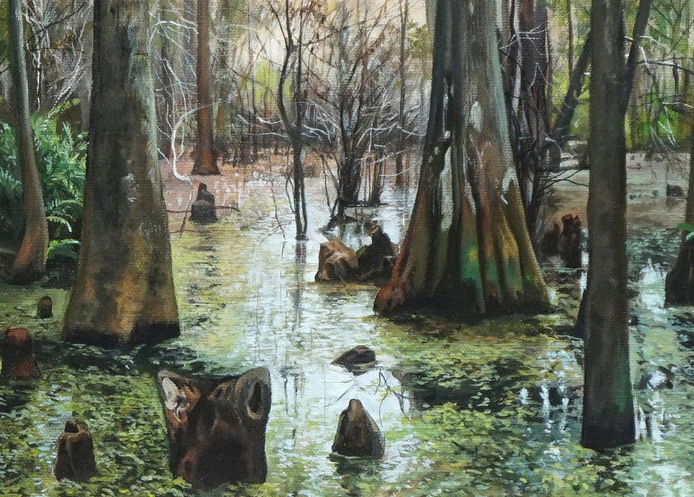 Kevin Grass Nicholas's Swamp detail Acrylic on canvas painting