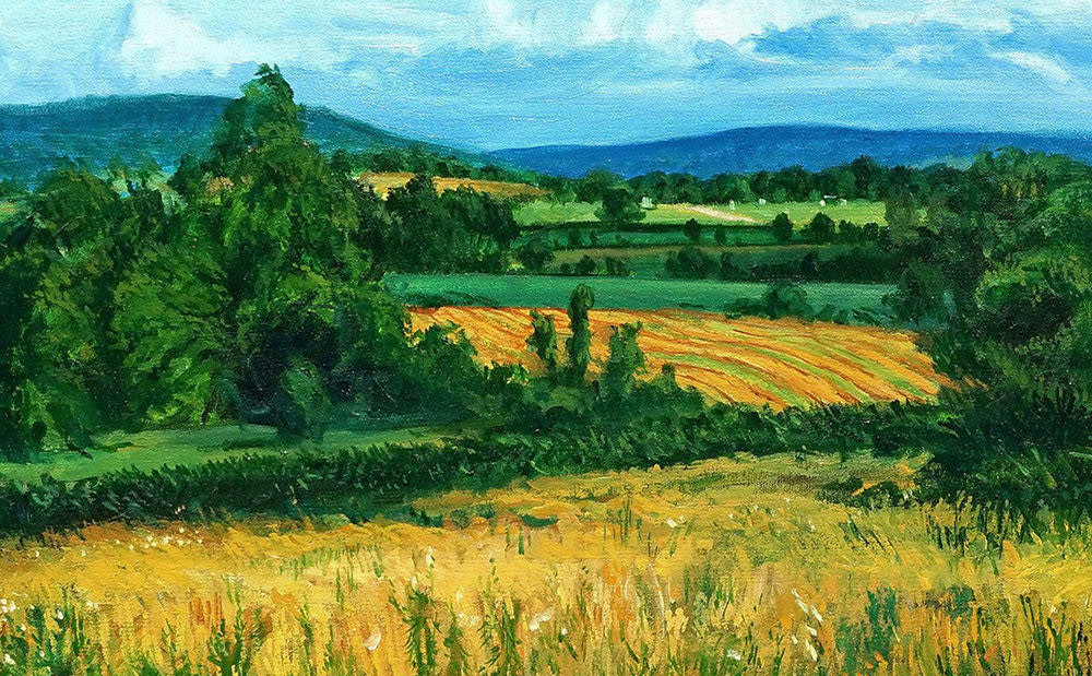 Kevin Grass Distant Ozark Foothills detail Oil on canvas painting