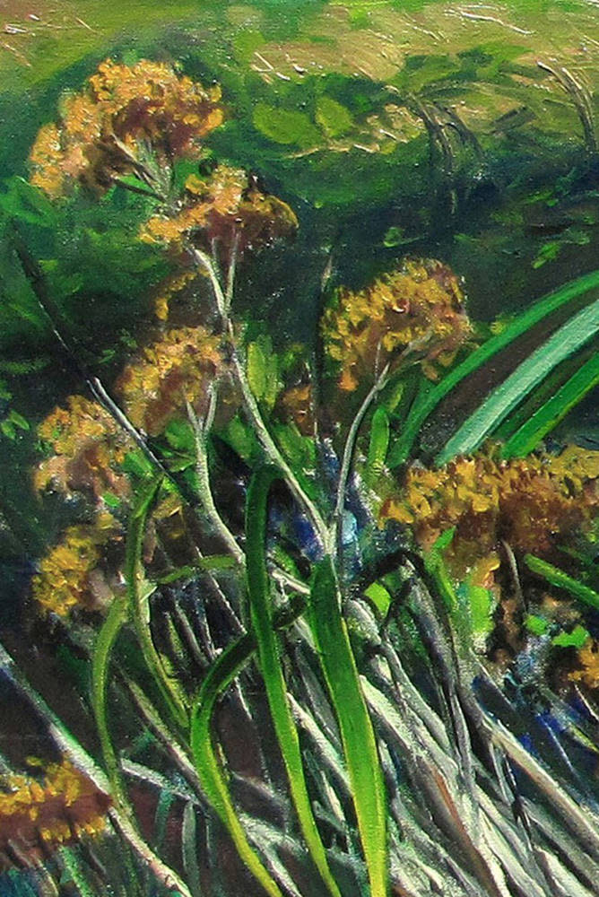 Kevin Grass Wildflowers detail Oil on canvas painting