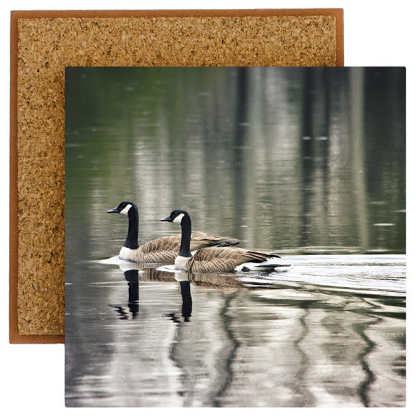 Swimming Geese Photo Tile