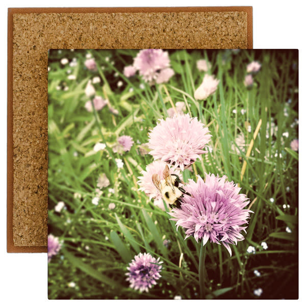 Chive Blossoms with Bumble Bee Photo Tile