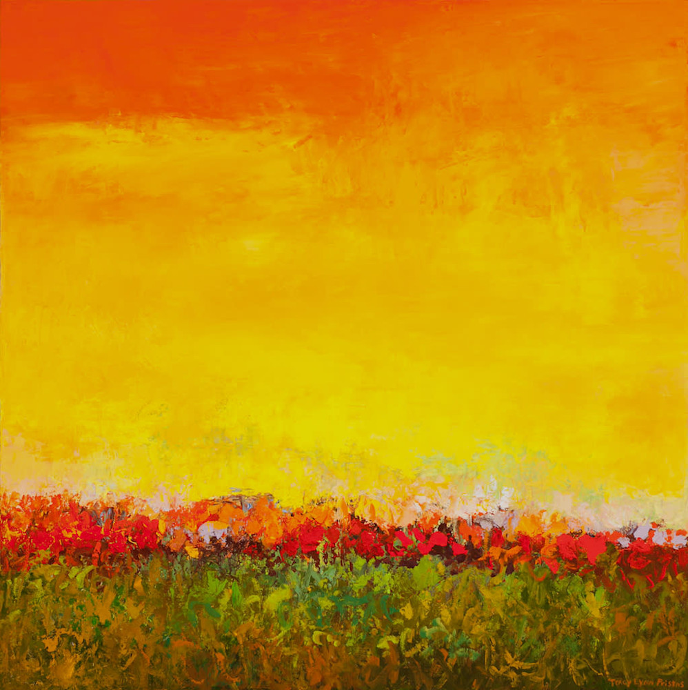 Tracy Lynn Pristas Abstract Floral Landscape Painting Sold jpg