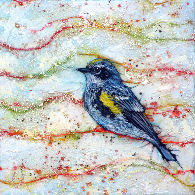 Col Mitchell paper art Candied Warbler 4 Myrtle all rights reserved