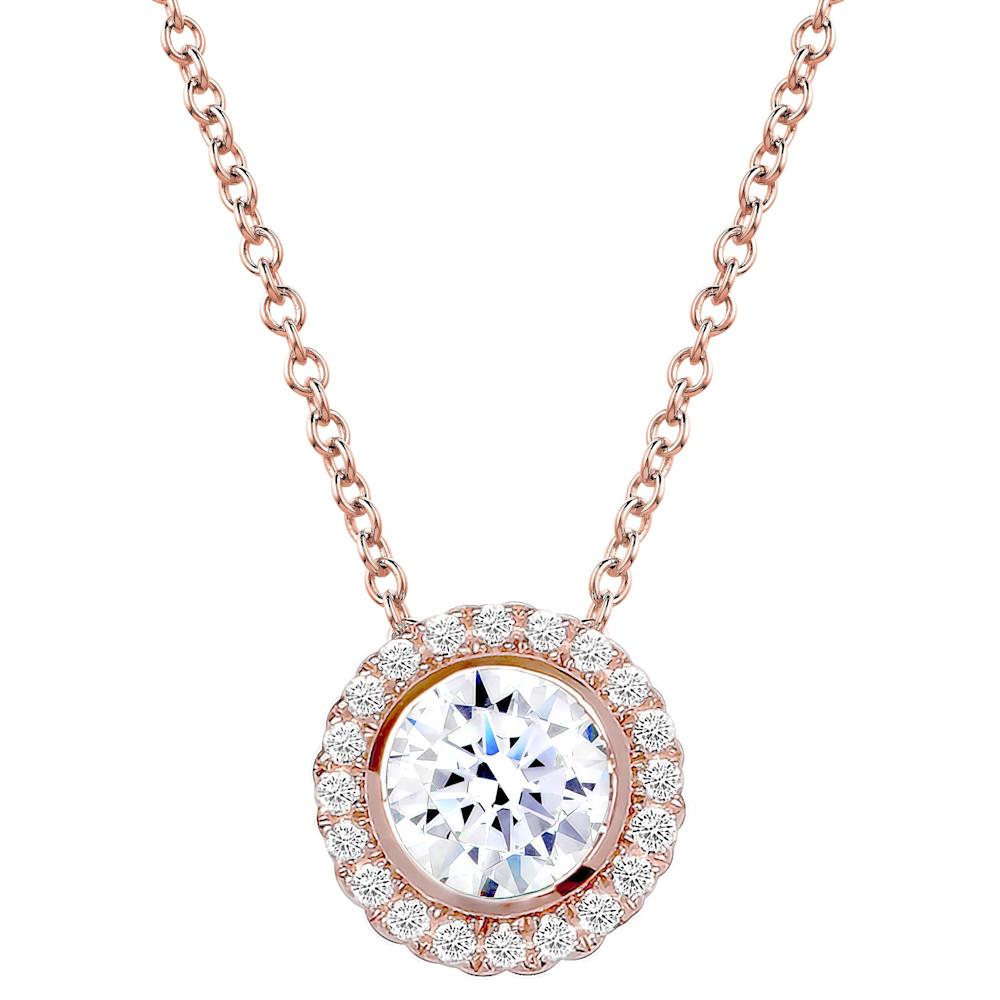 18kgp rose gold 2 carat round pendant necklace halo