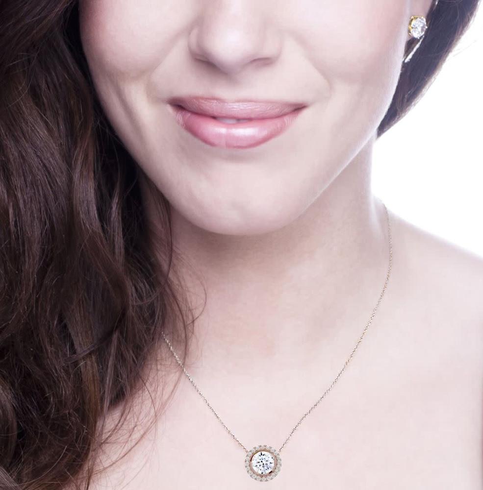 18kgp rose gold 2 carat necklace halo 3