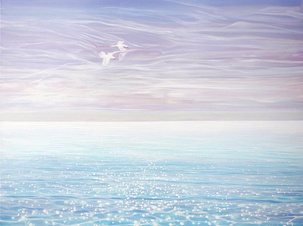 white birds blue sea 72
