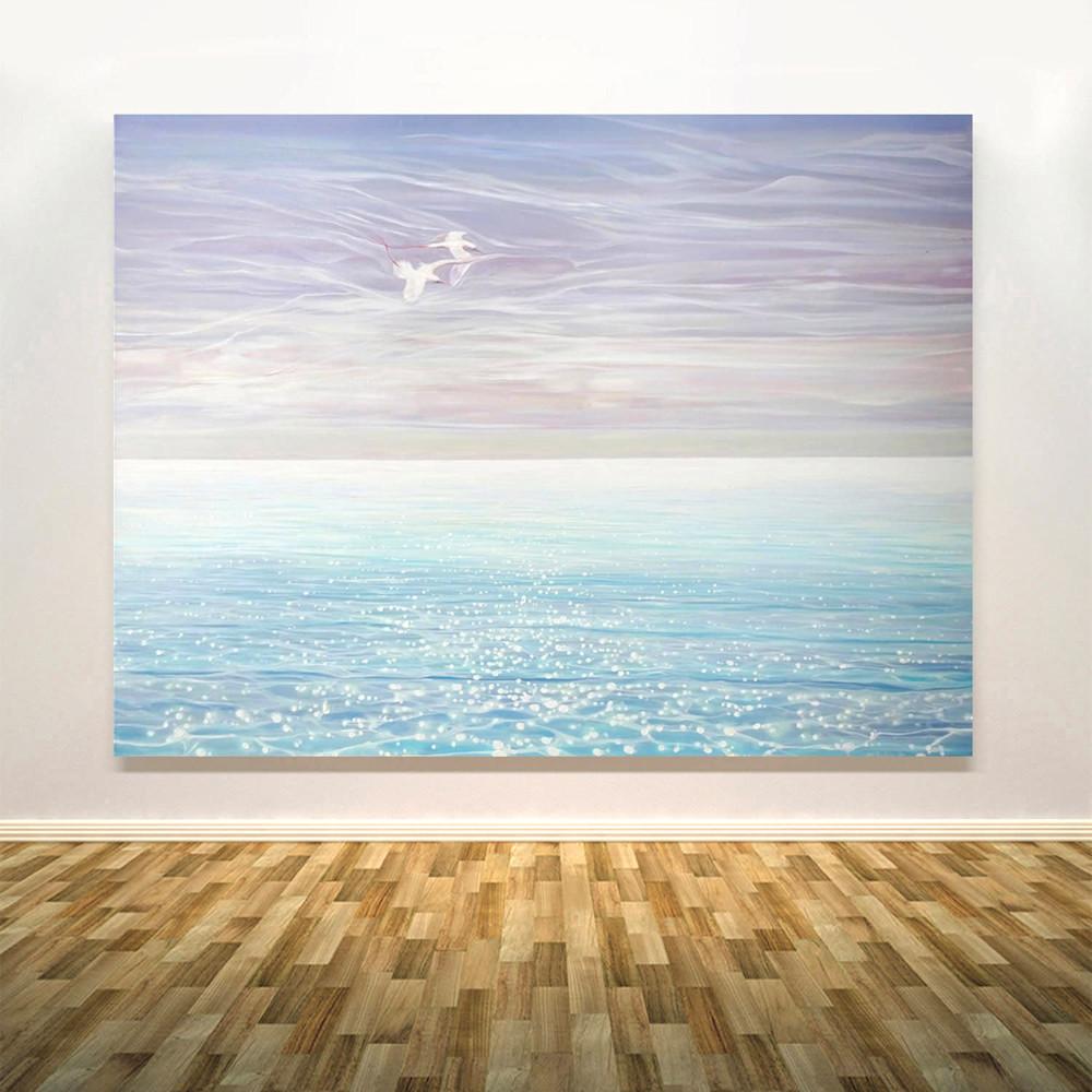 white birds blue sea wall copy