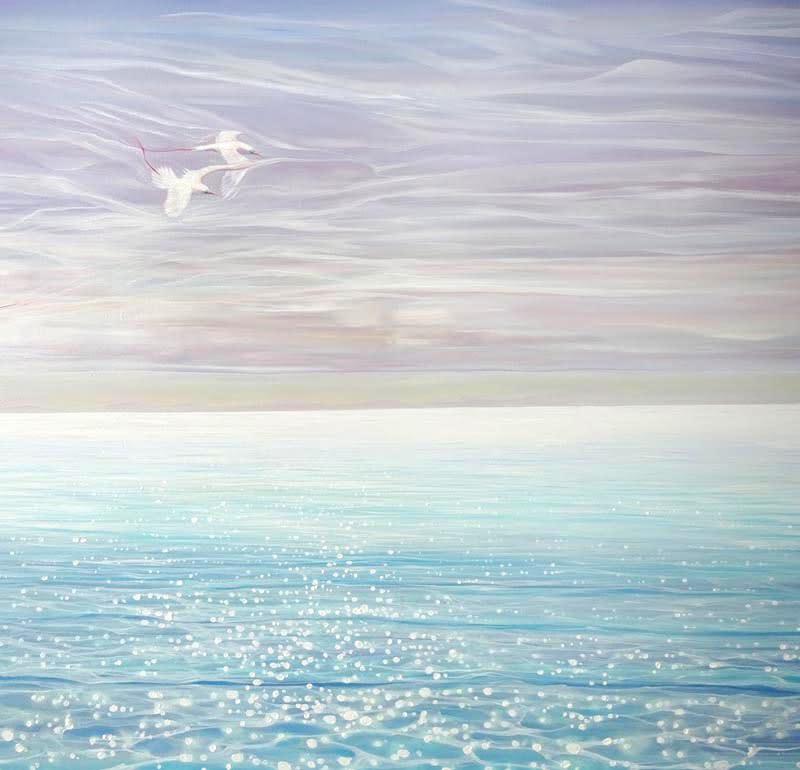 white birds blue sea d3 S