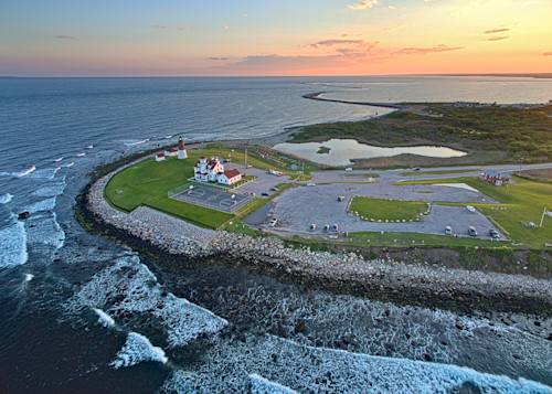 Pt judith lighthouse aerial sunset 2 il8vzz