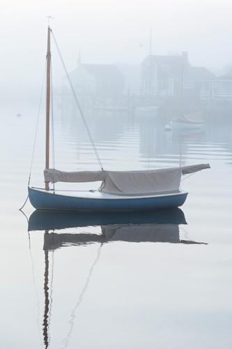 Foggy dawn nantucket harbor vertical sailboat xtfiuk
