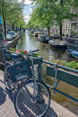 Lone_bicycle_with_flower_pots_on_bridge_over_canal._amsterdam_netherlands_atxplx