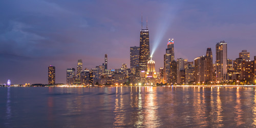 North avenue beach view of the chicago skyline xcpqwm