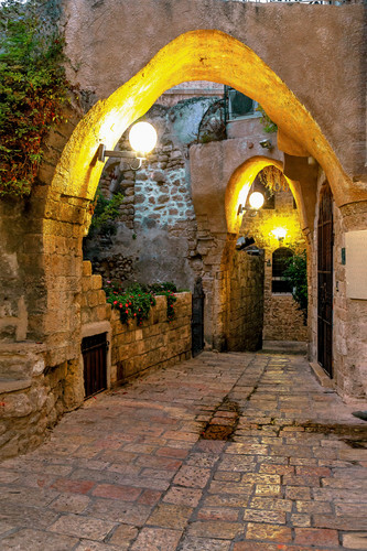 Old jaffa street with arches and lights israel g3zeeg