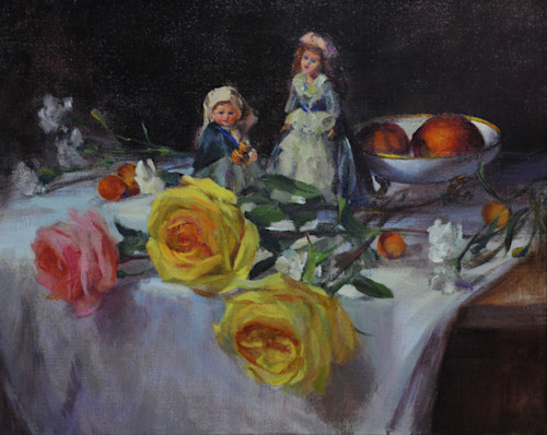 Dolls and roses 2 print e4c3a4